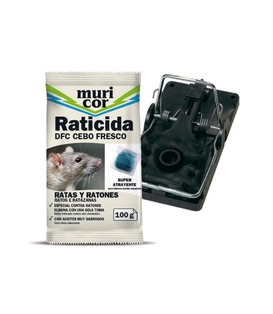 Kit 4 contra roedores, raticida + cepo para ratas.